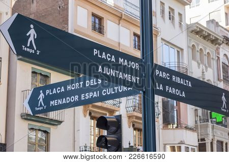 Castellon,spain-january 30,2018: Street Information Orientation Sign In Castellon,spain.