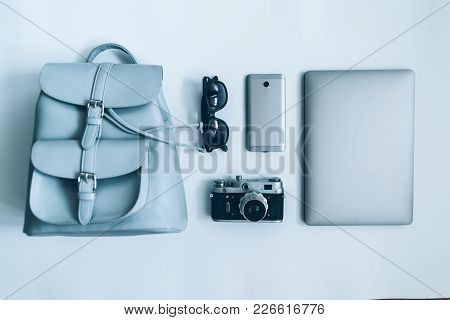 Flat Lay With Woman Staff On White Background