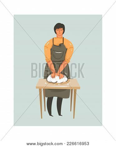 Hand Drawn Vector Abstract Modern Cartoon Cooking Time Fun Illustrations Icon With Table And Prepari