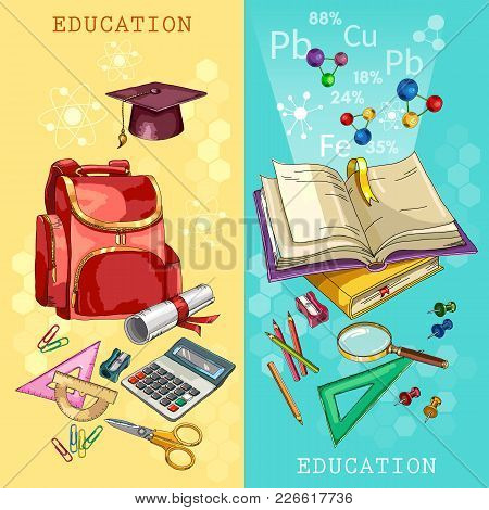 Education Banner. Back To School Tools. Symbol Of Education, Mathematics, Chemistry, Physics. Modern