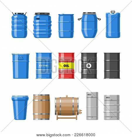 Barrel Vector Oil Barrels With Fuel And Wine Or Beer Barreled In Wooden Casks Illustration Alcohol B