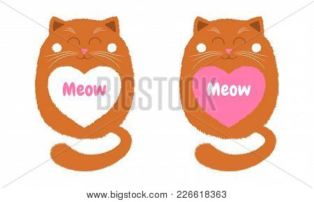 Vector Orange Cat In Cartoon Style. Funny Illustration Of Sitting Orange Kitten With Closed Eyes, Wi