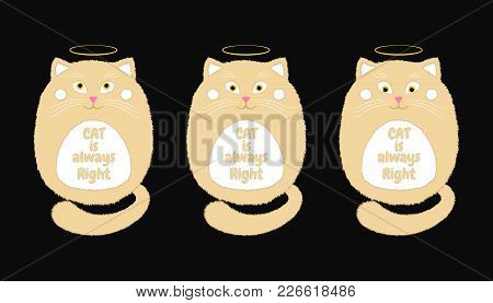 Vector Beige Cat In Cartoon Style. Funny Illustration Of Sitting Beige Kitten With Orange Eyes, Nimb