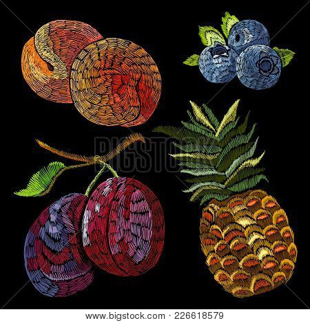Embroidery Fruits Collection. Vector Fashion Stickers Pineapple, Bilberry, Peaches, Plums. Embroider