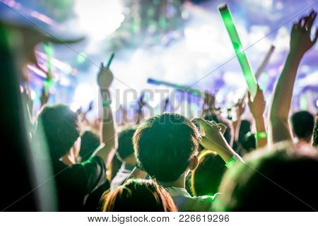 Many People Are In Local Concert And All They Standing In Front Of The Stage. The Audience In Silhou