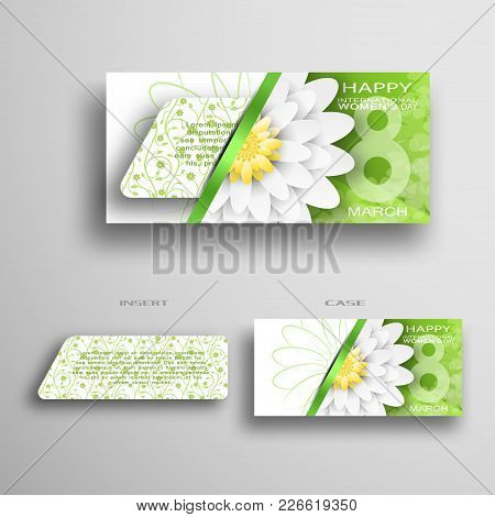 Vector Set Of Greeting Envelope And Insert With Green Floral Pattern For 8 Of March - International