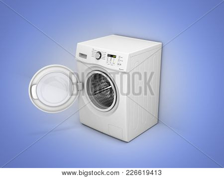 Washing Machine With An Open Door On Blue Gradient Background 3d Illustration