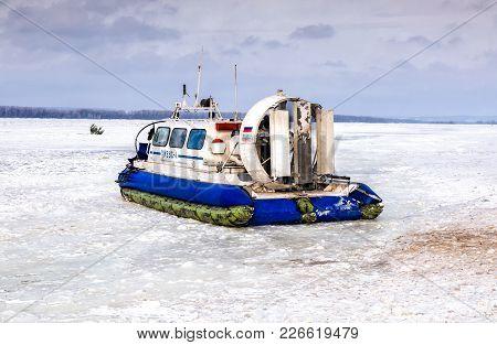 Samara, Russia - February 03, 2018: Passenger Hovercraft Hivus-4 On The Ice Of The Frozen Volga Rive