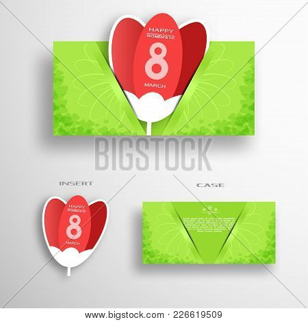 Vector Set Of Greeting Green Envelope With Insert In The Form Of Red Tulip For 8 Of March - Internat