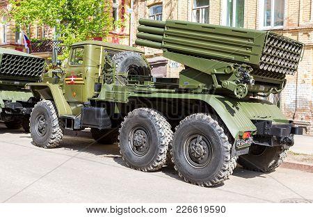 Samara, Russia - May 6, 2017: Bm-21 Grad 122-mm Multiple Rocket Launcher (katyusha) On Ural-375d Cha