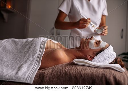 Woman Having Spa Procedure On Her Face