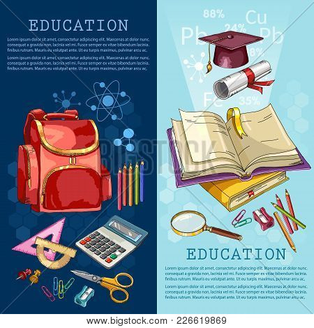 Education Banner. Back To School Tools. Modern Education Elements. Open Book Of Knowledge. Symbol Of