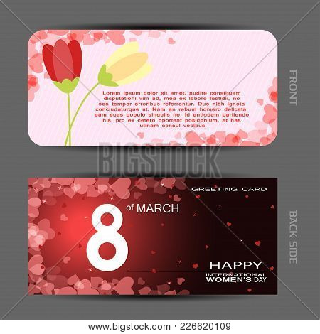 Vector Set Of Greeting Card For Happy Women's Day With Case And Insert On The Light And Dark Red Bac