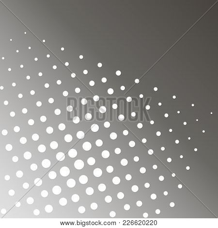 Pop Art Vector Illustration. Background Of A Gray Rainbow And White Dots. Shades Of Black