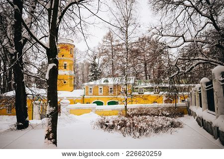 Winter View On Gorki Palace In Moscow Region And Public Park. Antique Mansion 18-19 Century In Class
