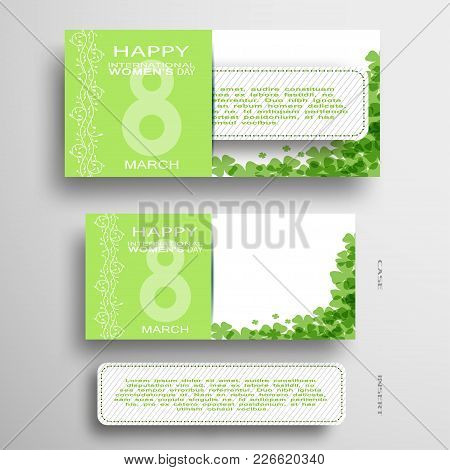 Set Of Vector Greeting Green And White Envelope With Insert For 8 Of March - International Women's D