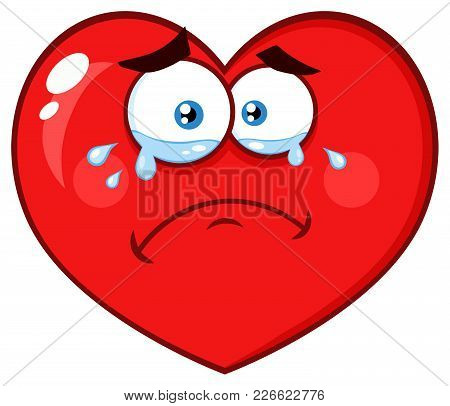 Crying Red Heart Cartoon Emoji Face Character With Sad Expression. Illustration Isolated On White Ba