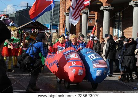 Aalst, Belgium, 12 February 2018: Unknown Aalst Carnival Participants Parody Donald Trump During The