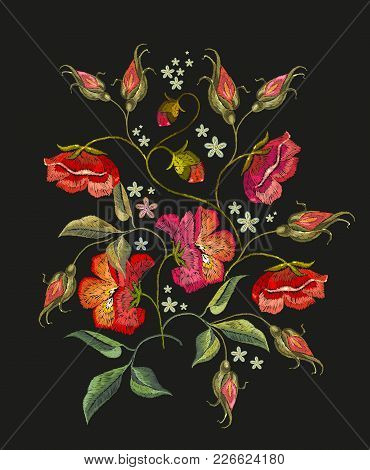 Embroidery Roses Flowers T-shirt Design. Beautiful Red Roses Classical Embroidery On Black Backgroun