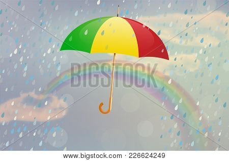Varicolored Opened Umbrella With Rain, Rainbow And Cloudy Sky - Vector Illustration