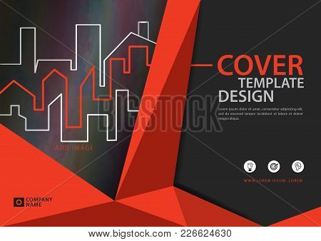 Orange Cover Template For Business Industry, Real Estate, Building, Home,machinery, Other. Polygonal
