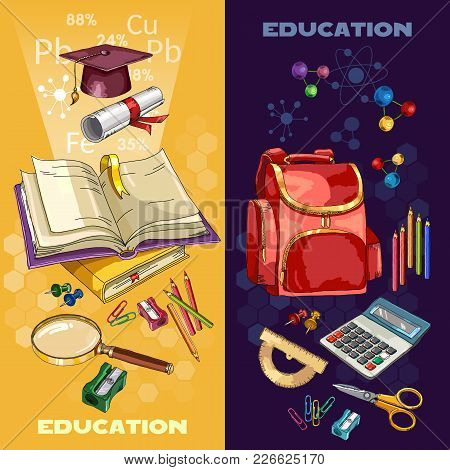 Education Banner. Open Book Of Knowledge. Back To School Tools. Symbol Of Education, Mathematics, Ch