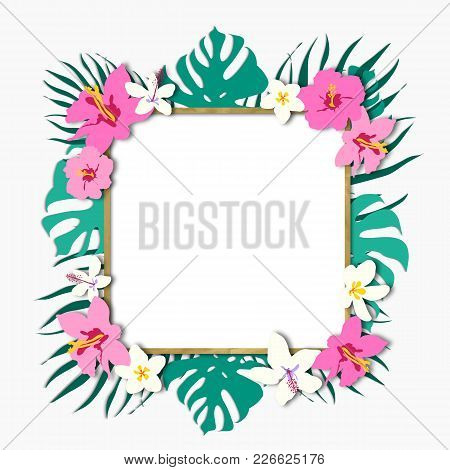 Trendy Tropical Leaves Frame With Rose Gold Decorative Color. Trendy Luxury Nude Background Color.be