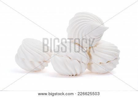 Sweet Dessert Group Of White Zephyr Marshmallows Isolated On White Background
