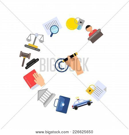 Vector Linear Style Copyright Color Elements And Icons Set Illustration