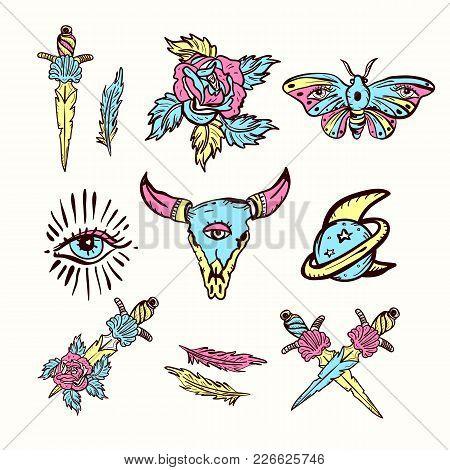 Skull Bull, Rose, Knife, Butterfly, Moon. Esoteric, Sacred Geometry Tattoo, Hand Drawn Vector. Set O