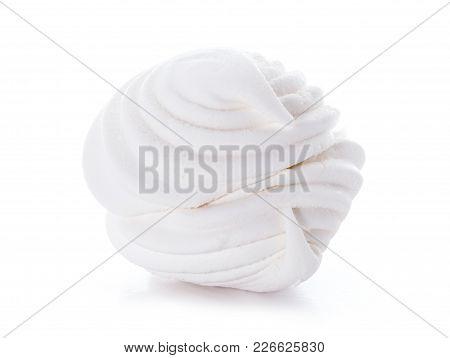 One On White Sweet Tasty Zephyr Marshmallows Isolated On White Background