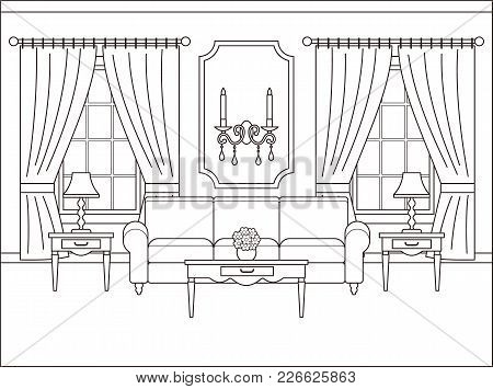 Room Interior. Vector. Linear Living Room With Window. Coloring Page. Black White Sketch In Classic