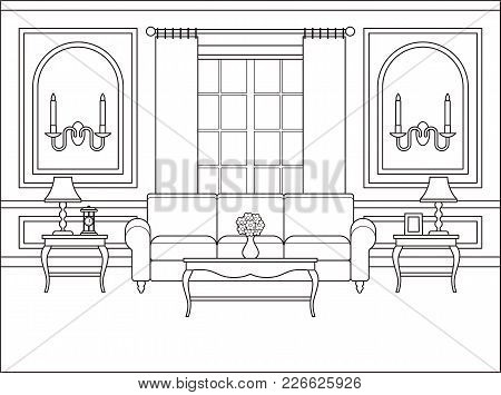 Room Interior. Vector. Linear Living Room. Coloring Page. Black White Sketch In Classic Style With W