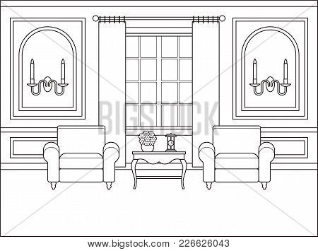 Room Interior. Vector. Outline Living Room. Coloring Page. Black White Sketch In Classic Style. Home