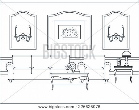 Room Interior. Vector. Home Flat Design With Furniture. Outline Living Room. Black White Sketch In C