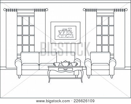 Room Interior. Home Flat Design With Furniture, Window. Vector Living Room.  Outline