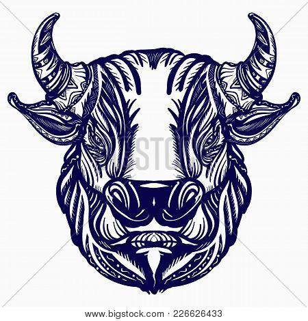 Bull Head Tattoo And T-shirt Design. Big Furious Bull, Symbol Of Power, Aggression Tattoo Art