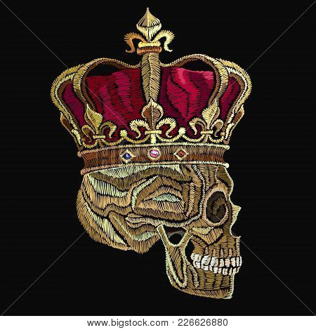 Embroidery Skull In Golden Crown. Dead King With  Crown On Head. Fashion Template For Clothes, Texti