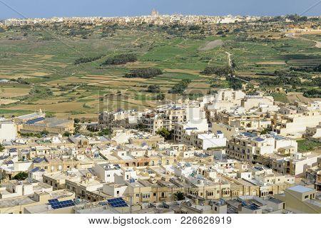 Landscape Of Terraced Fields At Island Gozo, Malta
