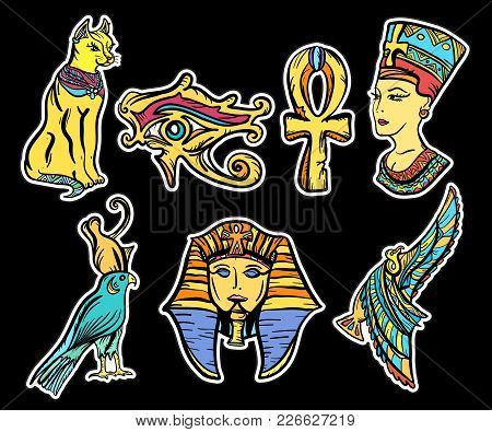 Ancient Egypt, Old School Tattoo. Ancient Egypt Hand Drawn Collection. Classic Flash Tattoo Style Eg