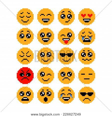 Set Of Emoticons, Pixel Emoji. Characters Isolated. Vector Illustration