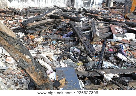 Scattered Debris After Fire In Garment Factory