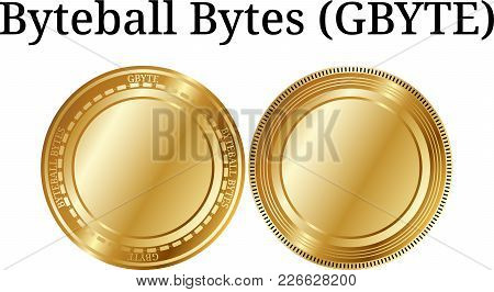 Set of physical golden coin Byteball Bytes (GBYTE), digital cryptocurrency. Byteball Bytes (GBYTE) icon set. Vector illustration isolated on white background. poster