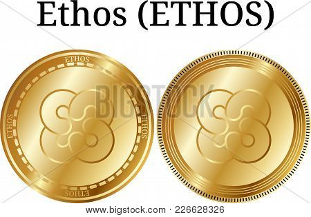 Set Of Physical Golden Coin Ethos (ethos), Digital Cryptocurrency. Ethos (ethos) Icon Set. Vector Il