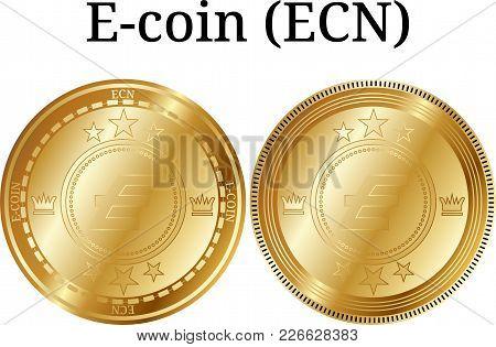 Set Of Physical Golden Coin E-coin (ecn), Digital Cryptocurrency. E-coin (ecn) Icon Set. Vector Illu