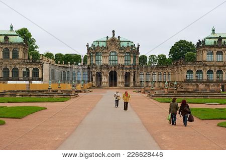 Dresden, Germany - May 22, 2010: Unidentified People Visit Famous Zwinger Palace In Dresden, Germany