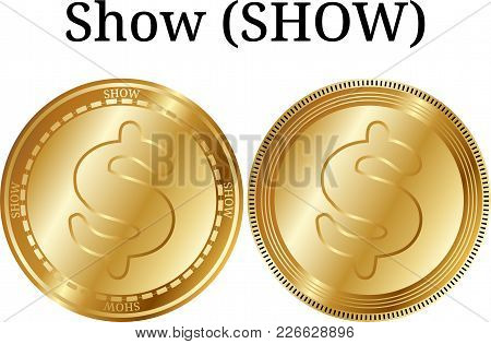 Set Of Physical Golden Coin Show (show), Digital Cryptocurrency. Show (show) Icon Set. Vector Illust