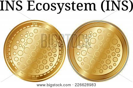 Set Of Physical Golden Coin Ins Ecosystem (ins), Digital Cryptocurrency. Ins Ecosystem (ins) Icon Se