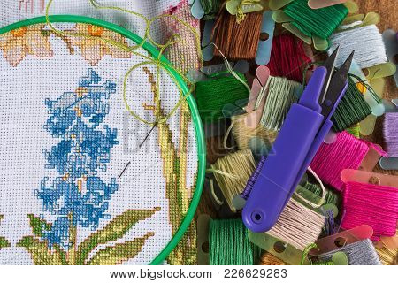The Process Of Cross-stitch. Canvas On Hoops, Needles, Embroidery Floss And Pattern. Copy Paste