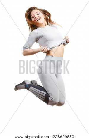 Clothing Fashion Sport Concept. Fit Female Wearing Thermoactive Underwear, Full Body Shot. Slim Woma